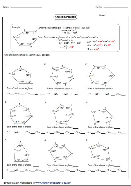 worksheets on exterior angles of polygons homeshealth info