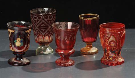 bicchieri cristallo boemia lotto di cinque bicchieri in vetro di boemia