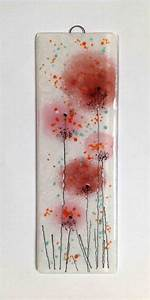 Pink coral salmon fused glass wall art flower panel hanging