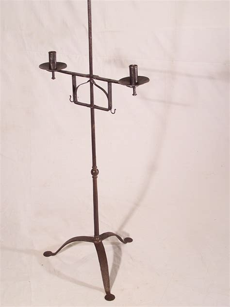 early thc  england wrought iron torchiere candle