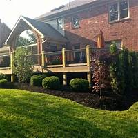 perfect landscape design ideas around patio Evergreen Bushes For Landscaping around deck | Arborvitae hedge and Bloodgood Japanese Maple ...