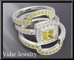 Yellow Sapphire Wedding Ring Set Vidar Jewelry Unique