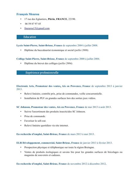 Copie Cv by Copie De Cv Meurou Fran 231 Ois Cv 2 874378 190db0 Par Primocv
