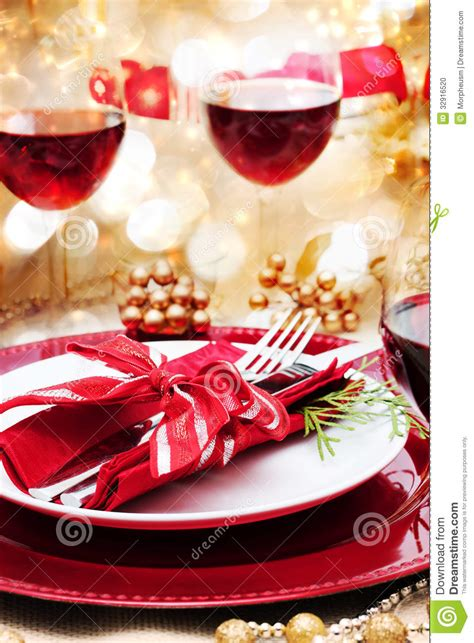 decorated christmas dinner table stock photo image