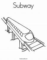 Subway Coloring Train Tunnel Template Sketch Station Metro Noodle Twisty sketch template