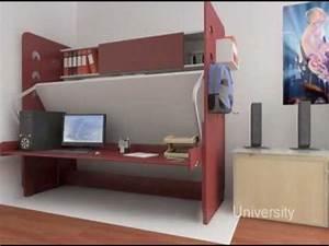 Hiddenbed space saving bed / desk system - YouTube