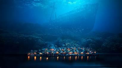 Underwater Fantasy Shipwreck Ship Sea Town Night