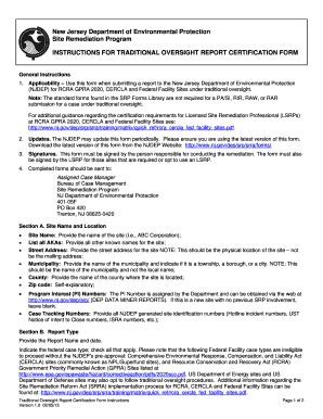 instructions for the traditional oversight report form
