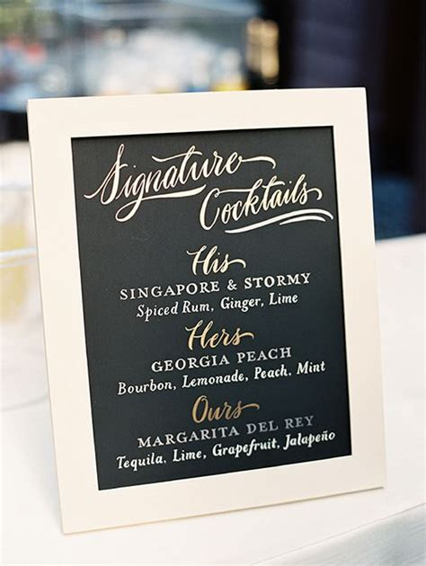 wedding signature cocktail sign ideas  images