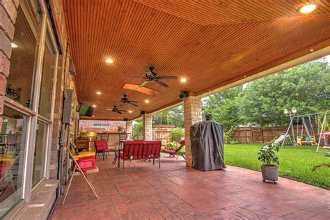 Patio And Outdoor by Patio Cover With Brick Columns And Outdoor Kitchen Houston