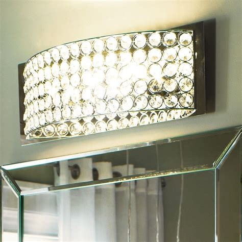 Chrome 4 Crystal Light Wall Fixture Bathroom Vanity Mirror