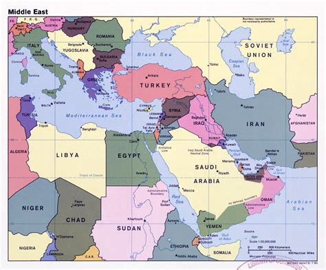 large detailed political map   middle east