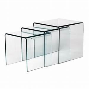 Table Basse Gigogne Verre : table gigogne en verre design 12mm contact sodezign com ~ Teatrodelosmanantiales.com Idées de Décoration
