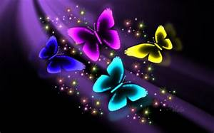 Neon Butterflies Butterflies & Animals Background