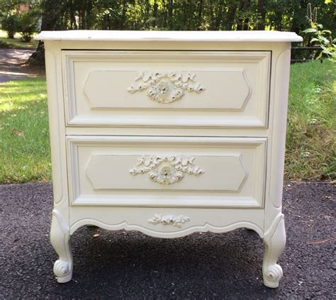 White Provincial Nightstand by Vintage Provincial Nightstand Painted