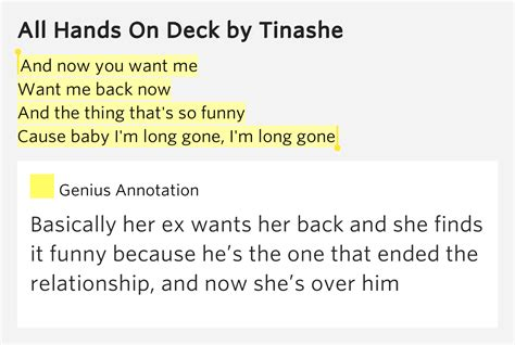 tinashe all on deck meaning and now you want me want me back now and all