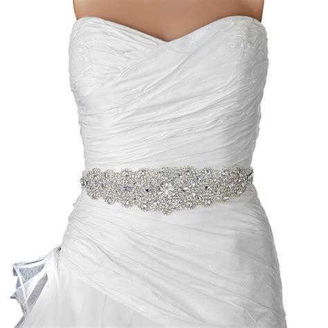 rhinestone crystal bridal belt  sash ivory