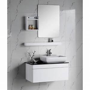modele meuble haut salle de bain blanc laque With meuble de salle de bain laqué blanc