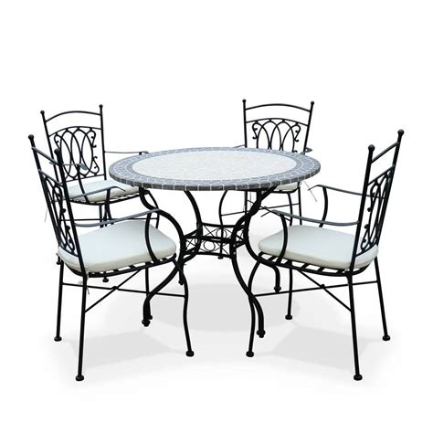 salon de jardin table ronde 248 100cm 4 places granit mosaique zellige style ceramique fer forg 233 m