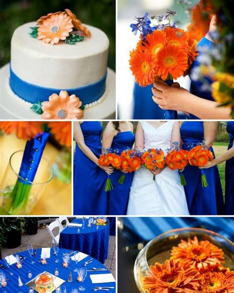 festive blue  orange wedding ideas wedding color combos