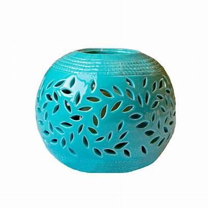 Lantern Ceramic Magnolia Turquoise Candle Outdoor Flameless