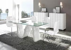Acheter Votre Table Contemporiane Plateau Verre Pied Laqu
