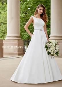satin a line wedding gown with a bateau neckline 118271 With wedding dresses photos