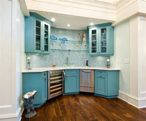 Floating Glass Cabinet - blue bar with floating glass shelves eclectic wine