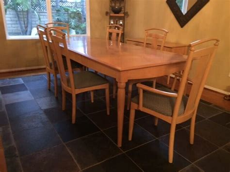 ethan allen light maple dining table chairs  console table  chairs  leaf ebay