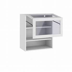 Meuble de cuisine haut avec porte pliante et 2 tablettes