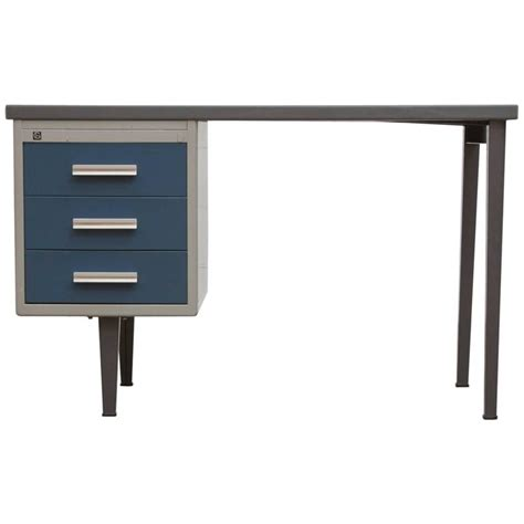 gray desk with drawers gispen grey industrial desk with blue drawers at 1stdibs