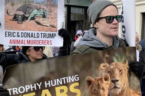 trump donald eric trophy animal jr hunters rights activists homes nyc protest hunting rally against theirturn worldwide during organizations protesting