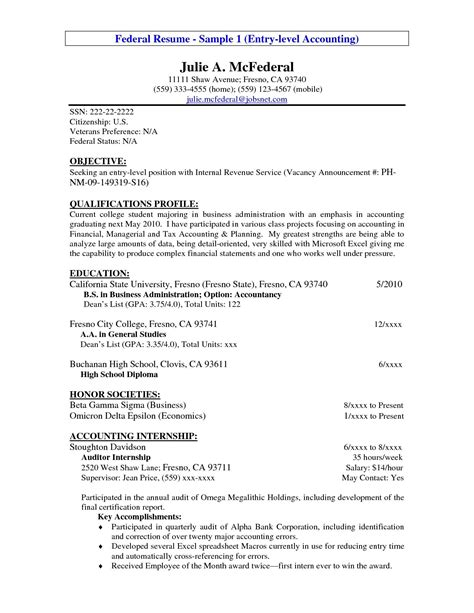 Entry Level Position by Entry Level Resume Exle Entry Level Accounting Resume