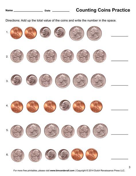 counting coins worksheets printable grade math