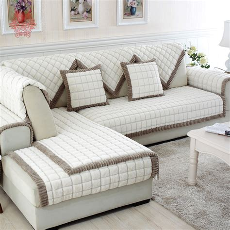 canapé home center aliexpress com buy white grey plaid sofa cover plush