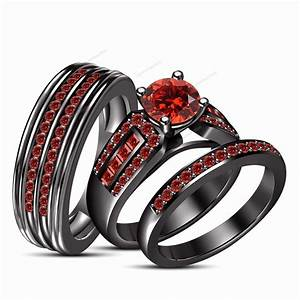 Gallery Black And Red Wedding Ring Sets