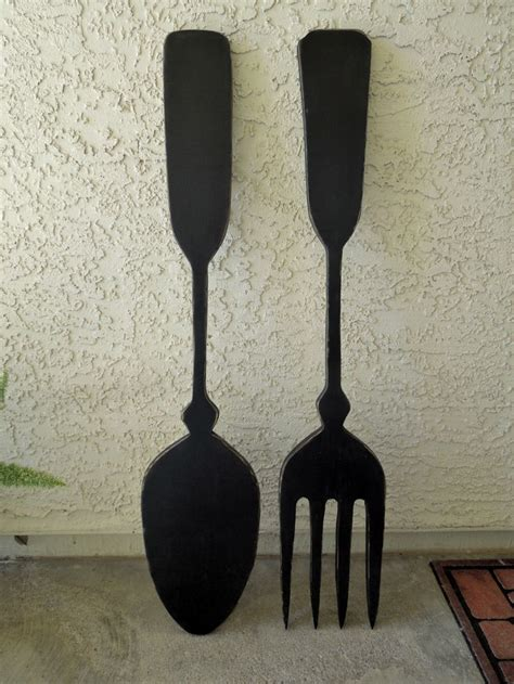 wooden fork and spoon wall hanging big wood spoon and fork wall decor for your kitchen by