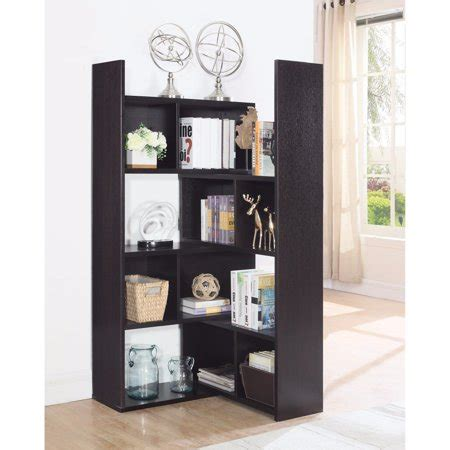 Contemporary Corner Bookcase by Modern Style Corner Bookcase With Shelves Brown