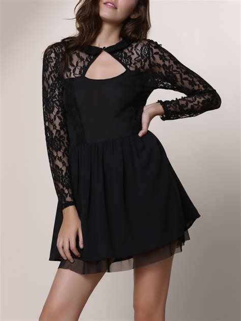Black M Keyhole Lace Panel Long Sleeve Club Dress