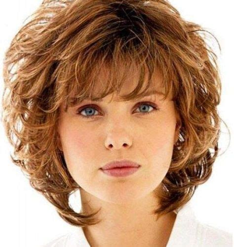 cute looking curly haircut with bangs for over 50 women