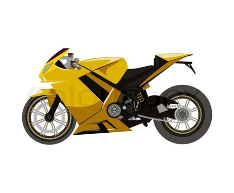 yellow sport motorcycle side view stock vector colourbox