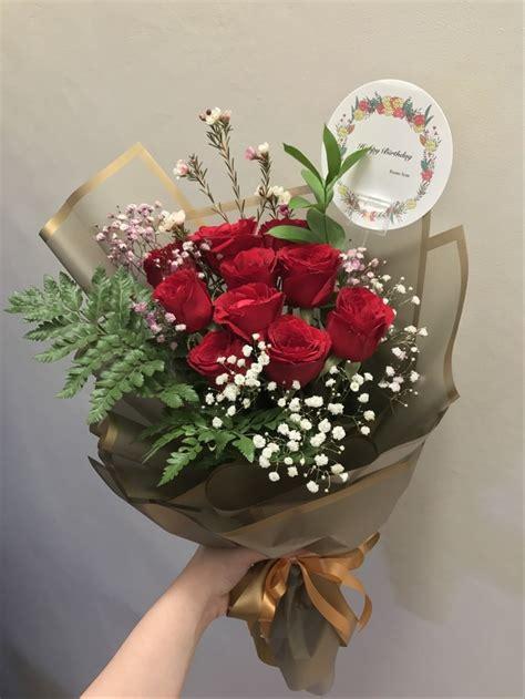 jual hand bouquet buket bunga mawar merah segar  lapak