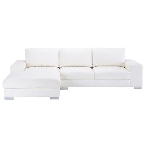 canapé d angle 5 places canapé d 39 angle 5 places en cuir blanc york maisons