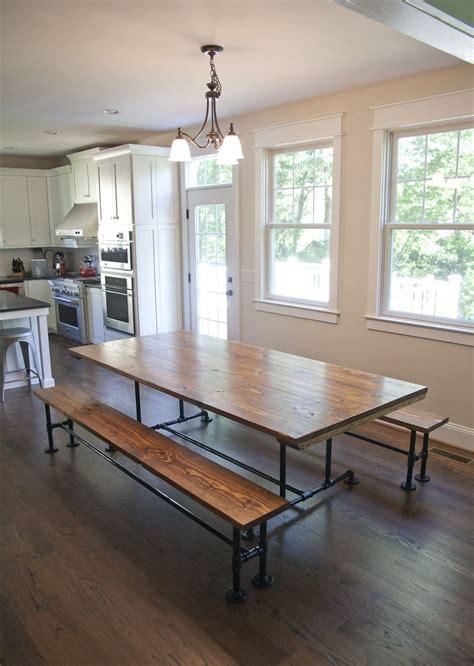 industrial farmhouse style table  dark walnut top
