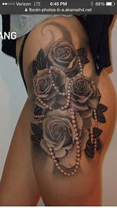 Black and White Rose Tattoo hip thigh. Would get smaller ...