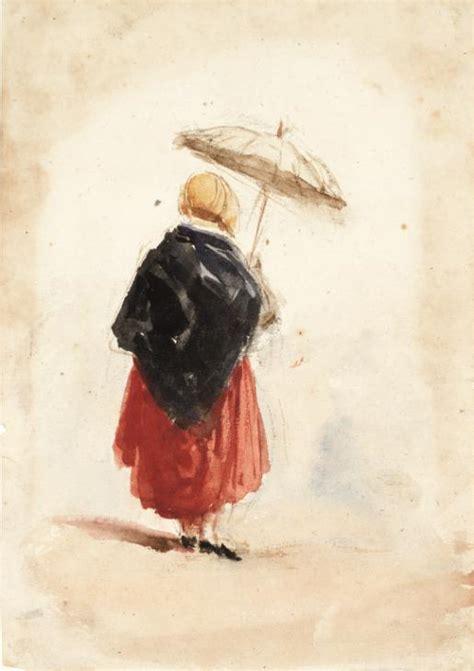 costume study woman  umbrella verso erased figure