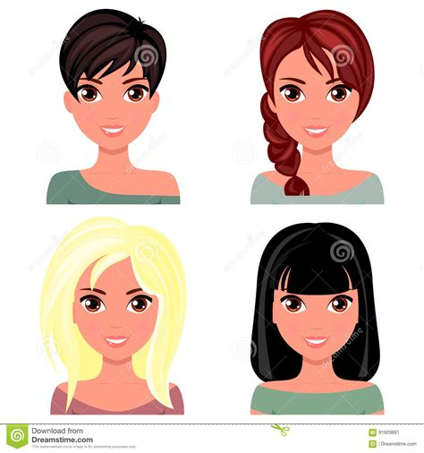 woman beautiful face   hairstyles cartoon