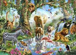 flower delivery service jungle lake with animals wall mural photo