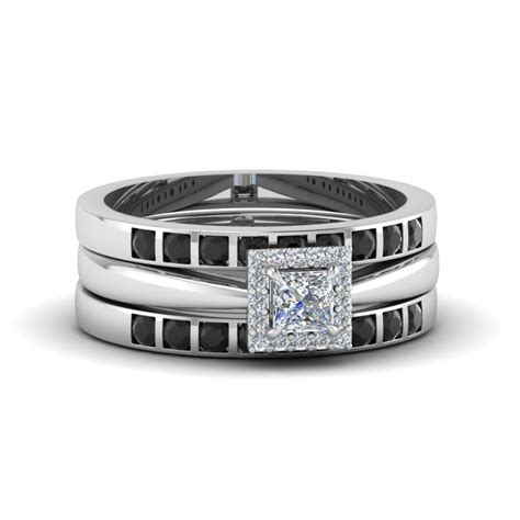 princess cut square halo trio wedding ring sets for women with black diamond in 18k white gold