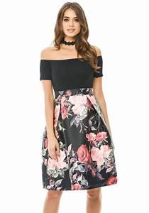 2 in 1 Printed Off Shoulder Skirt Dress